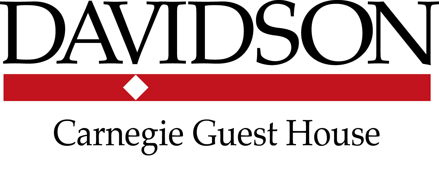 Davidson College departmental logo with black Davidson type, red bar, white diamond with Carnegie Guest House written under red bar in black text