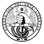 Davidson College seal in black color on white