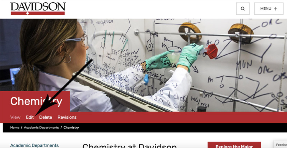 """Screenshot of Chemistry Dept. page with an arrow pointing to the """"Edit"""" button"""