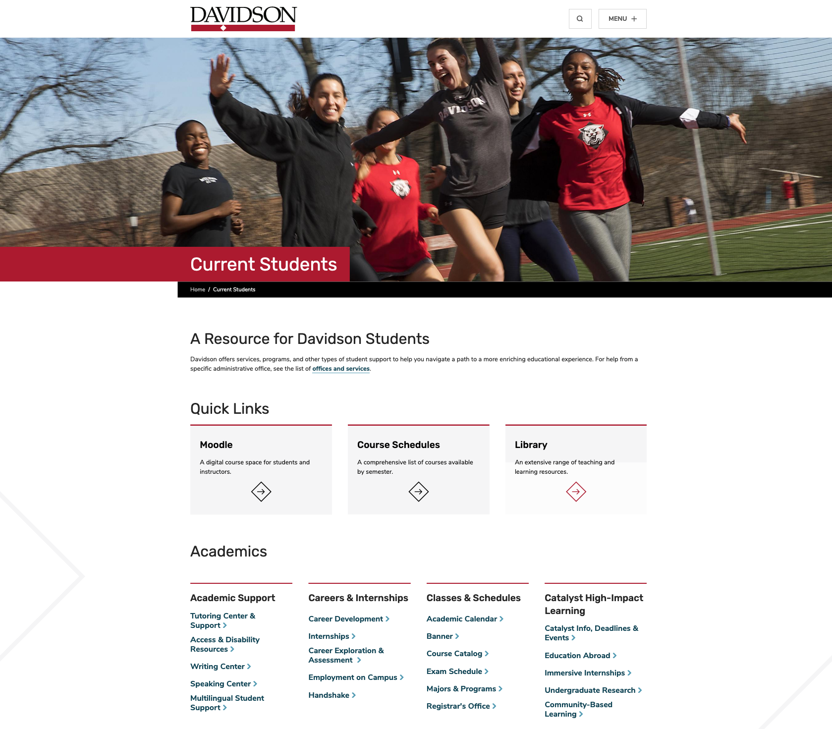 Current Students Gateway Page on Davidson.edu