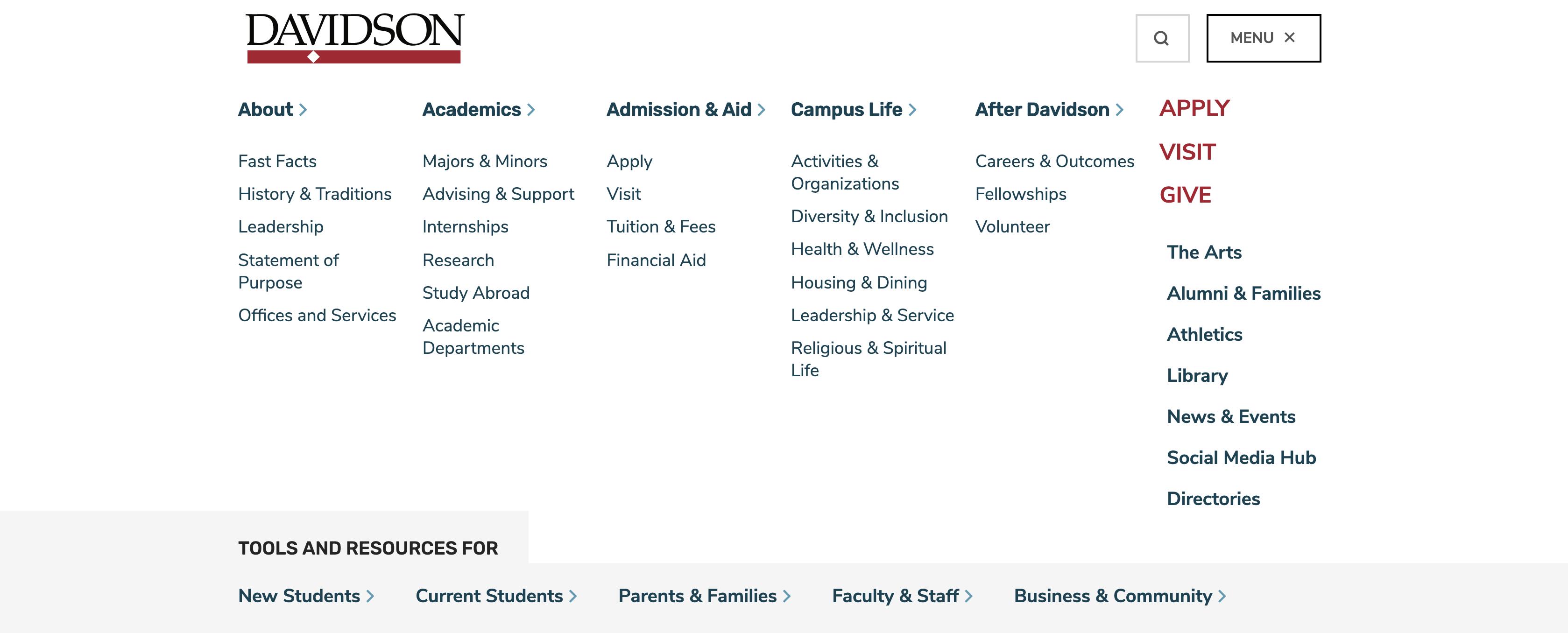 Screenshot of Davidson.edu Mega Menu