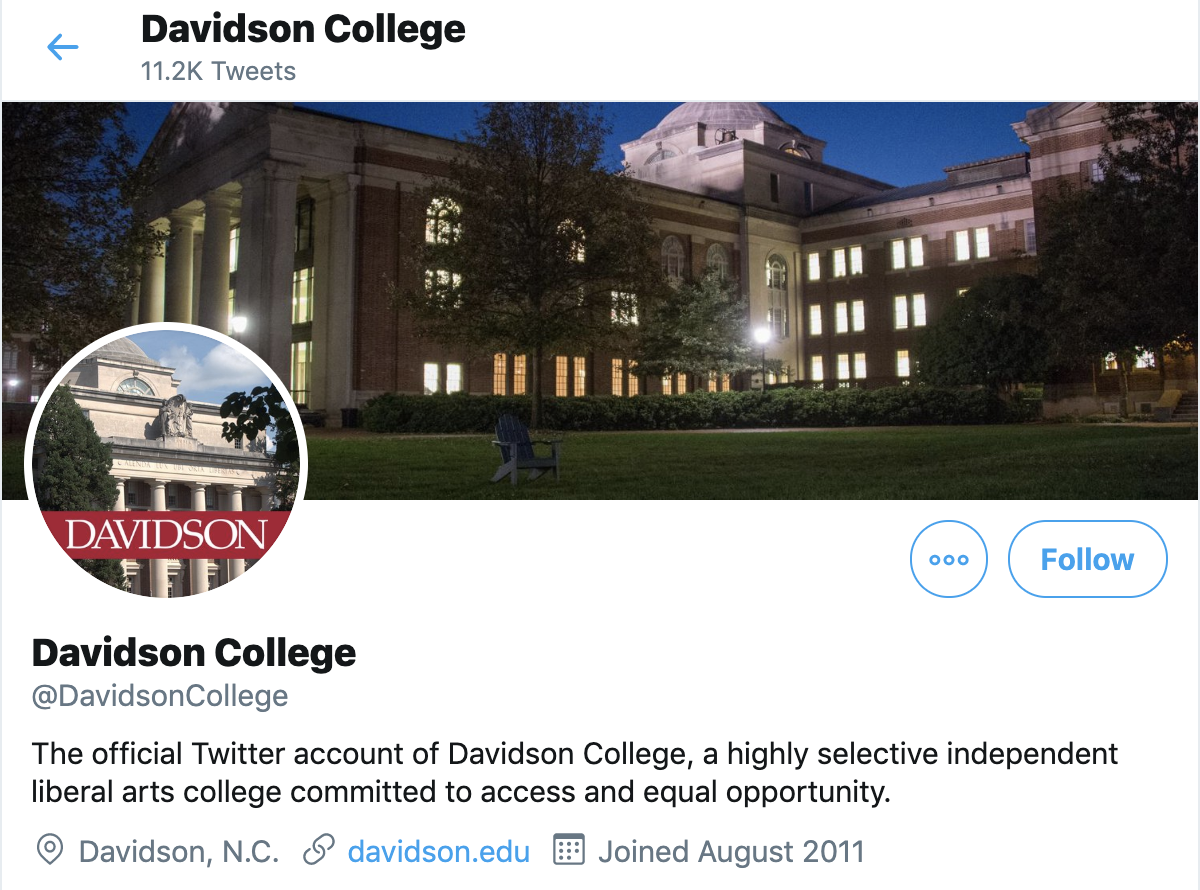 Screenshot of Davidson College Twitter Page