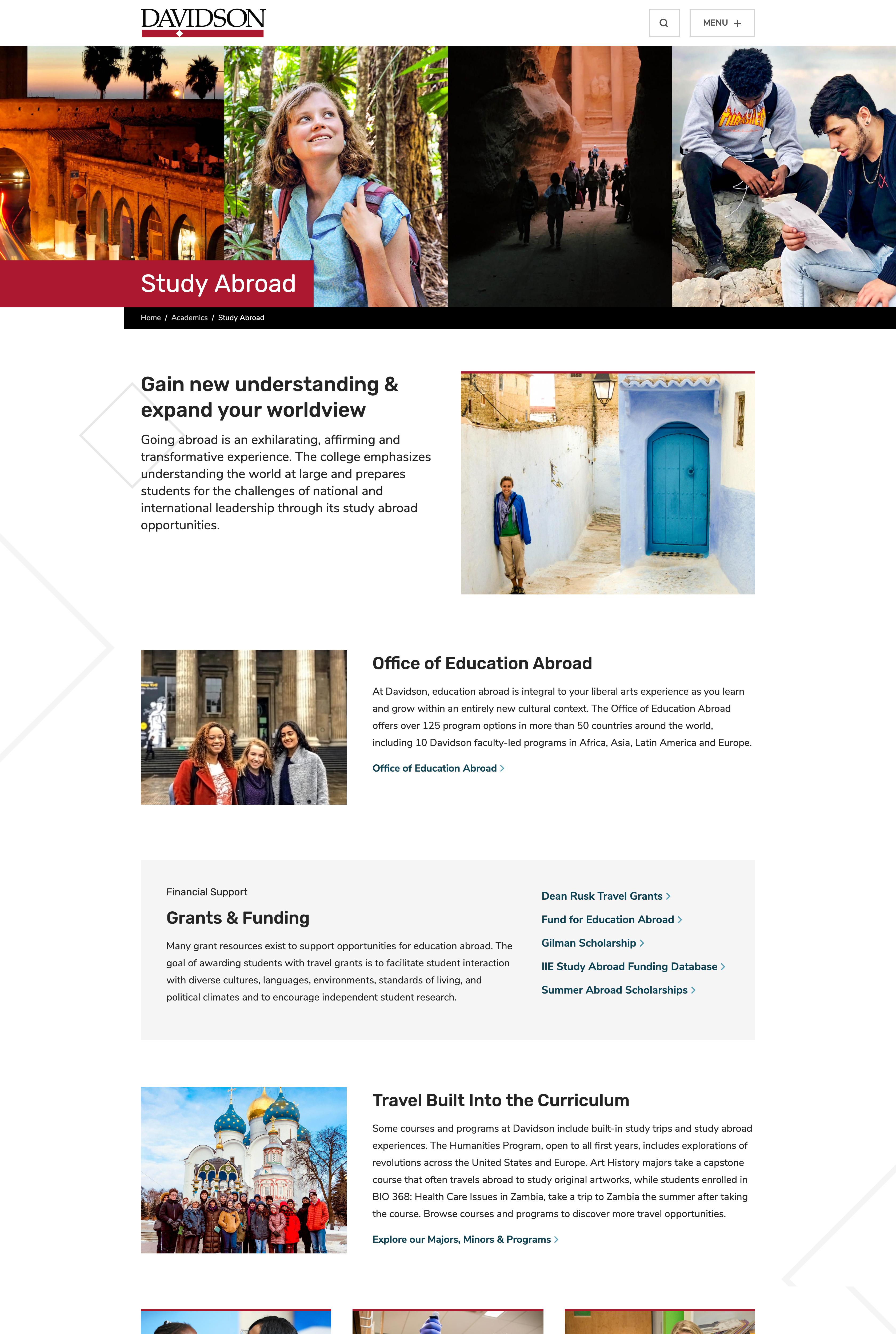 Screenshot of Study Abroad page on Davidson.edu