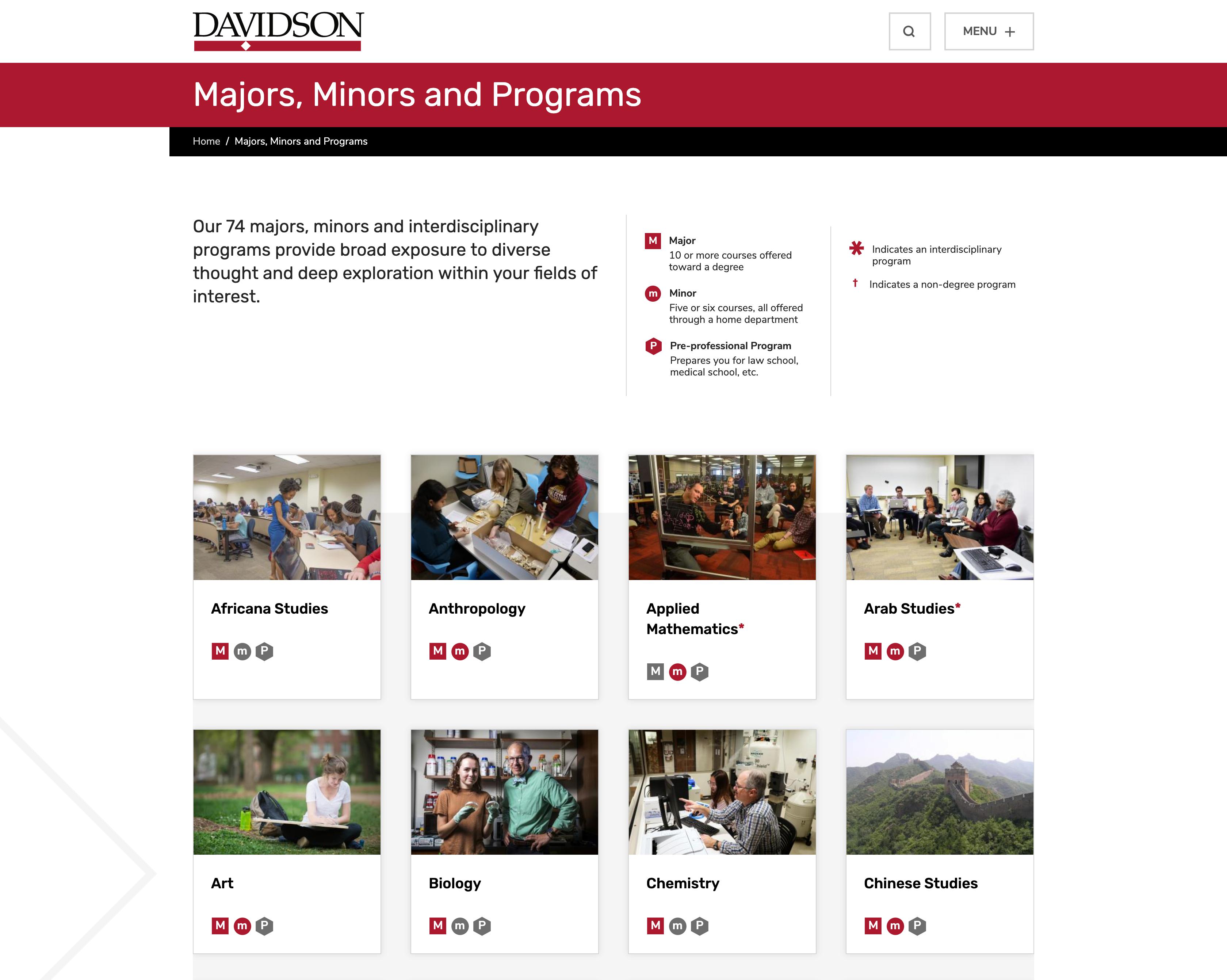 Screenshot of Majors, Minors & Programs page