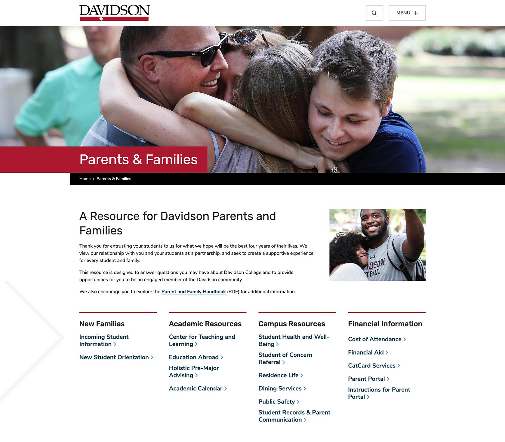 Screenshot of Parents & Families Gateway Page on Davidson.edu