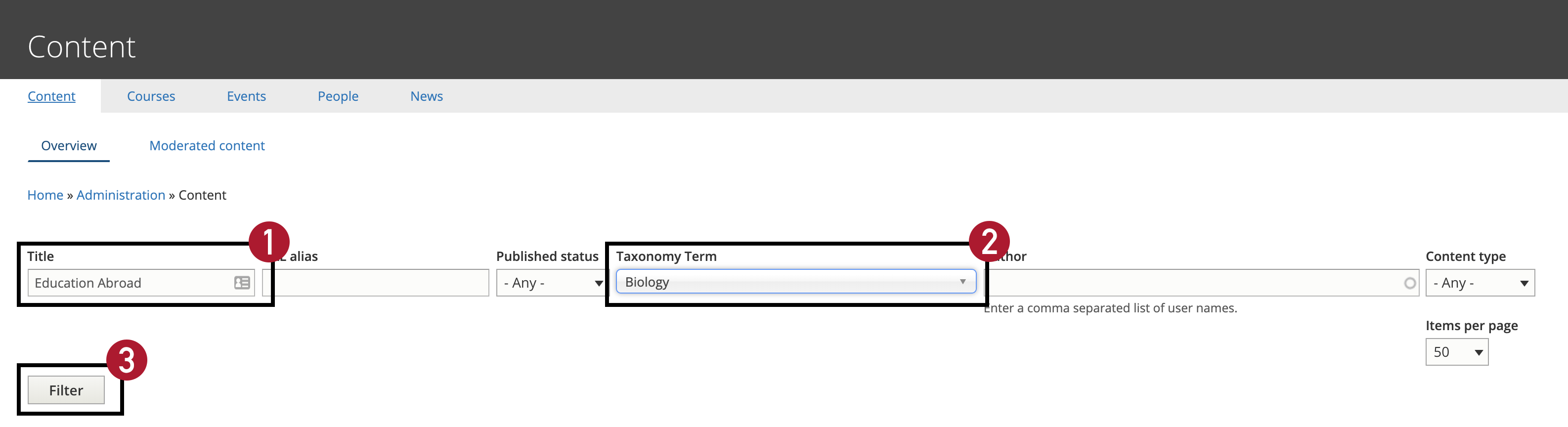 Screenshot of CMS, box marked one around title field, box marked two around taxonomy term, and box marked three around the filter button