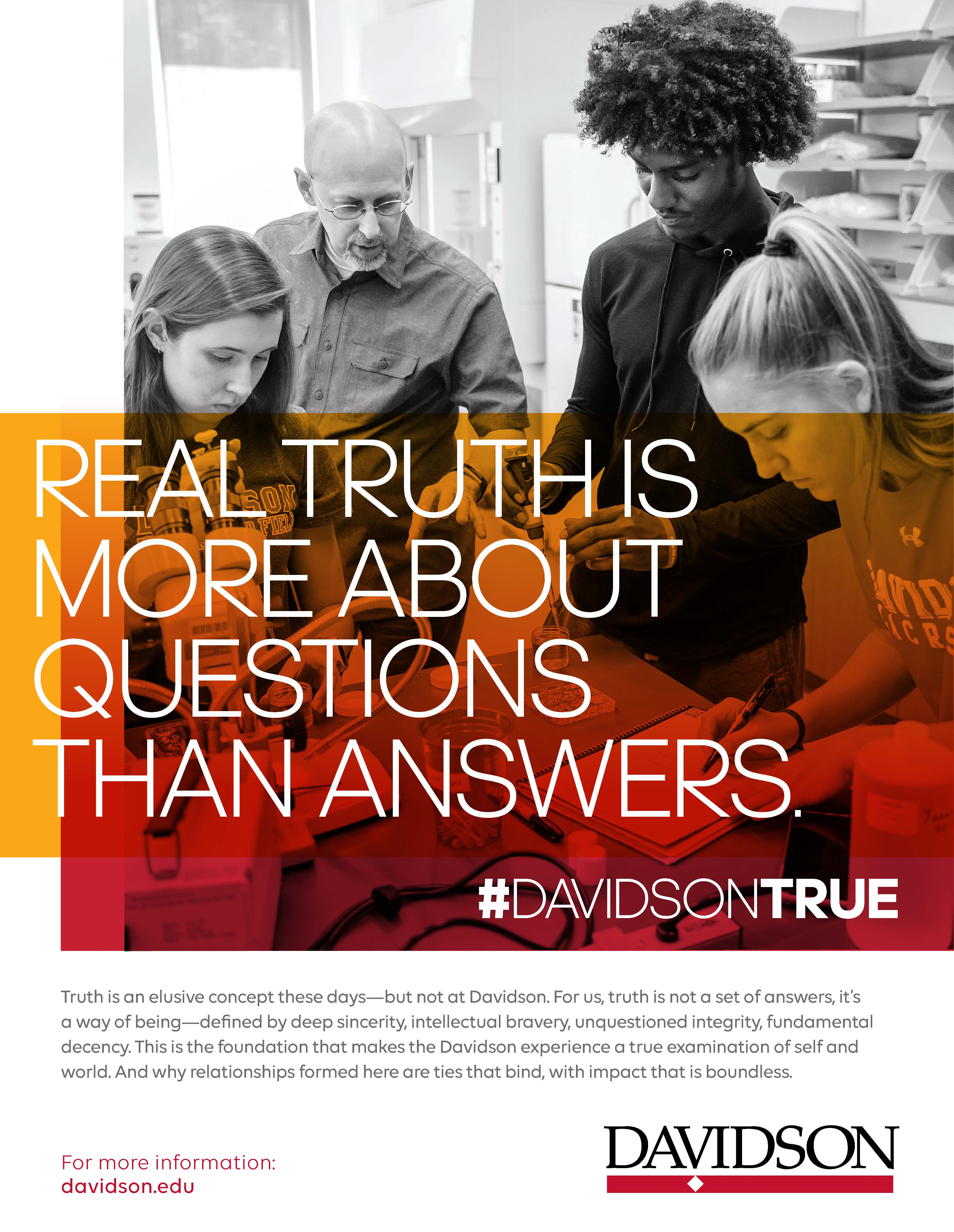 """Lab experiment with overlaid """"Real truth is more about questions than answers."""""""