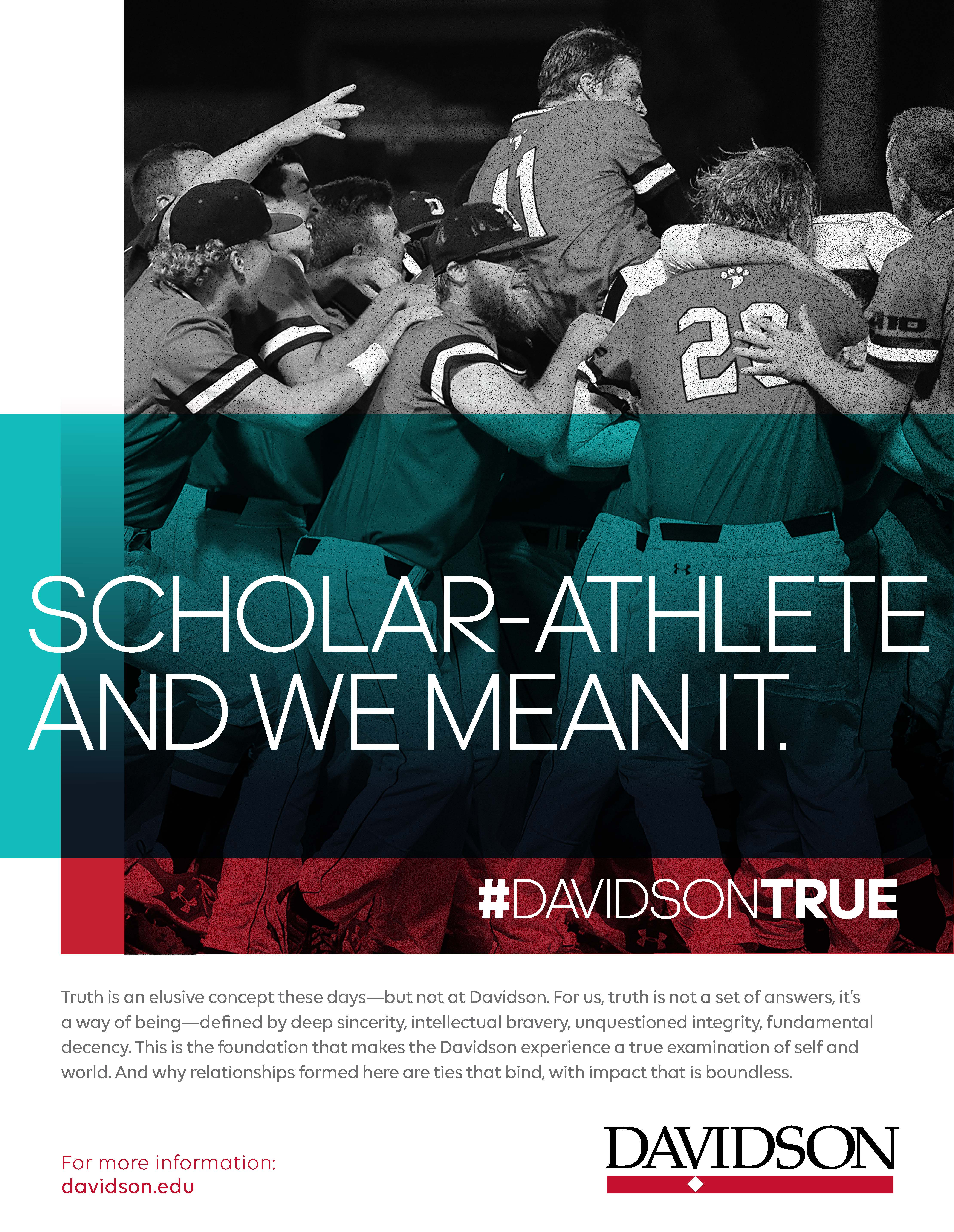 """Baseball team with overlaid """"Scholar-athlete and we mean it."""""""