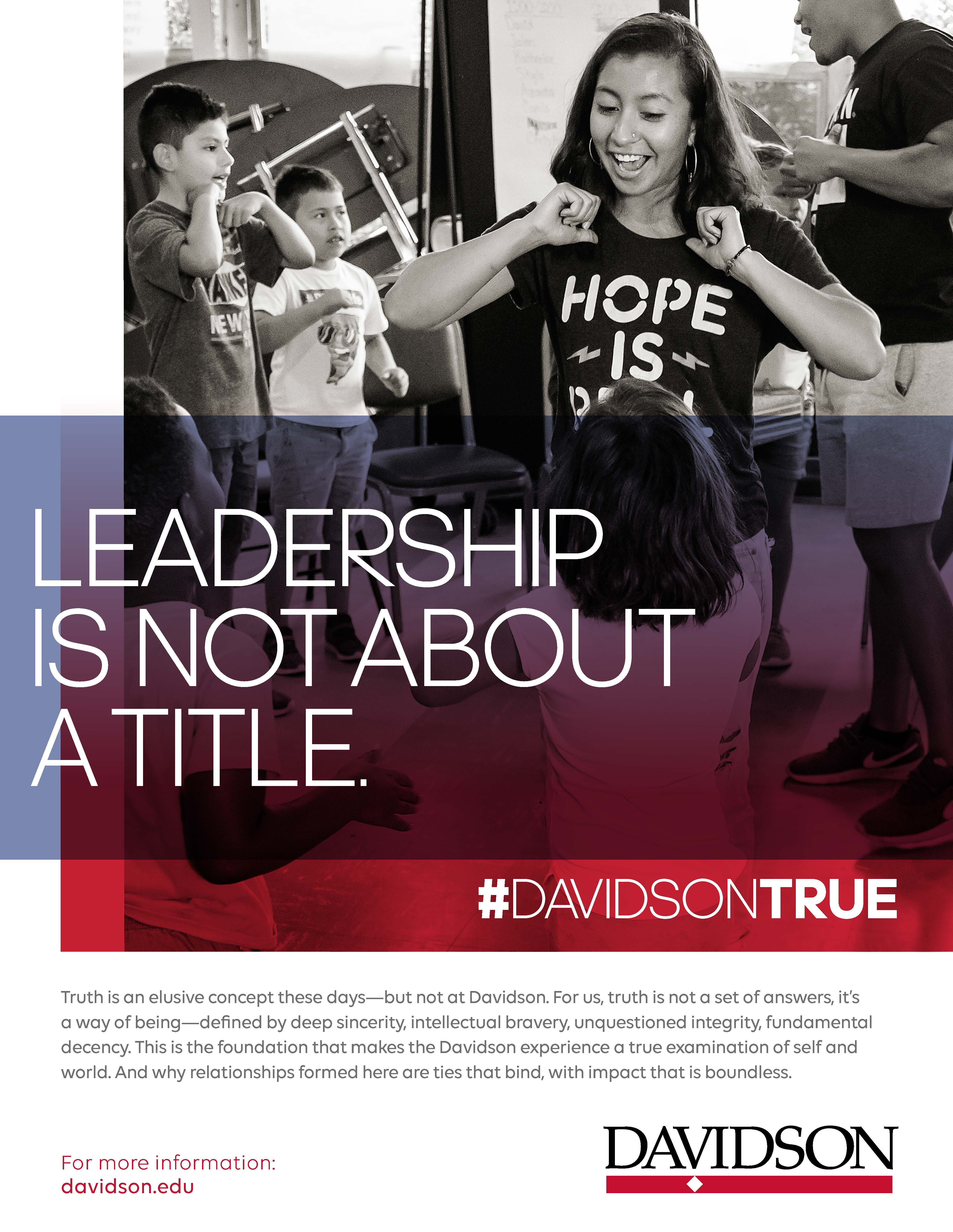"""Student Dancing with Overlaid """"Leadership is not about a title."""""""