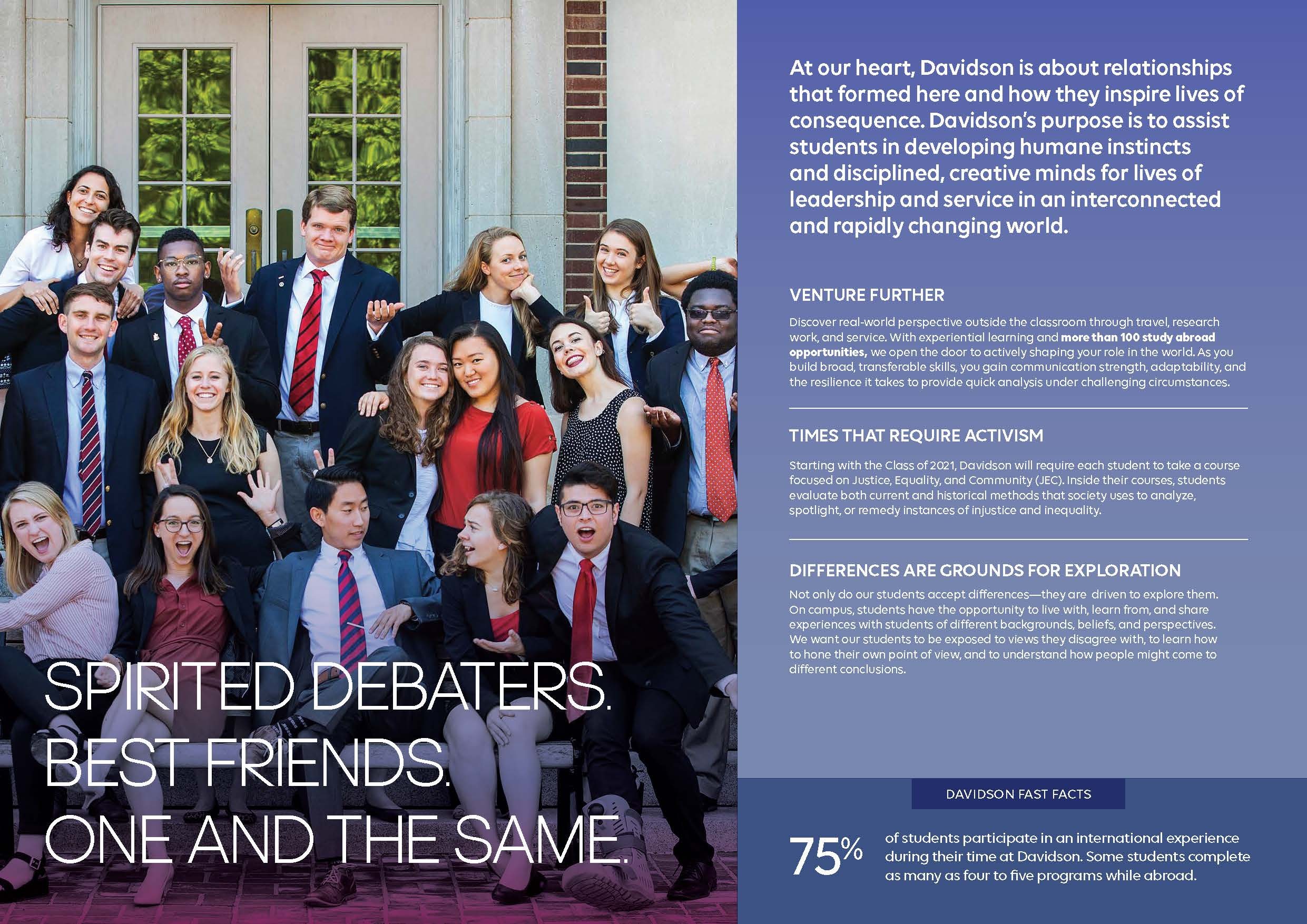 Viewbook: Spirited debaters. Best friends. One and the same.