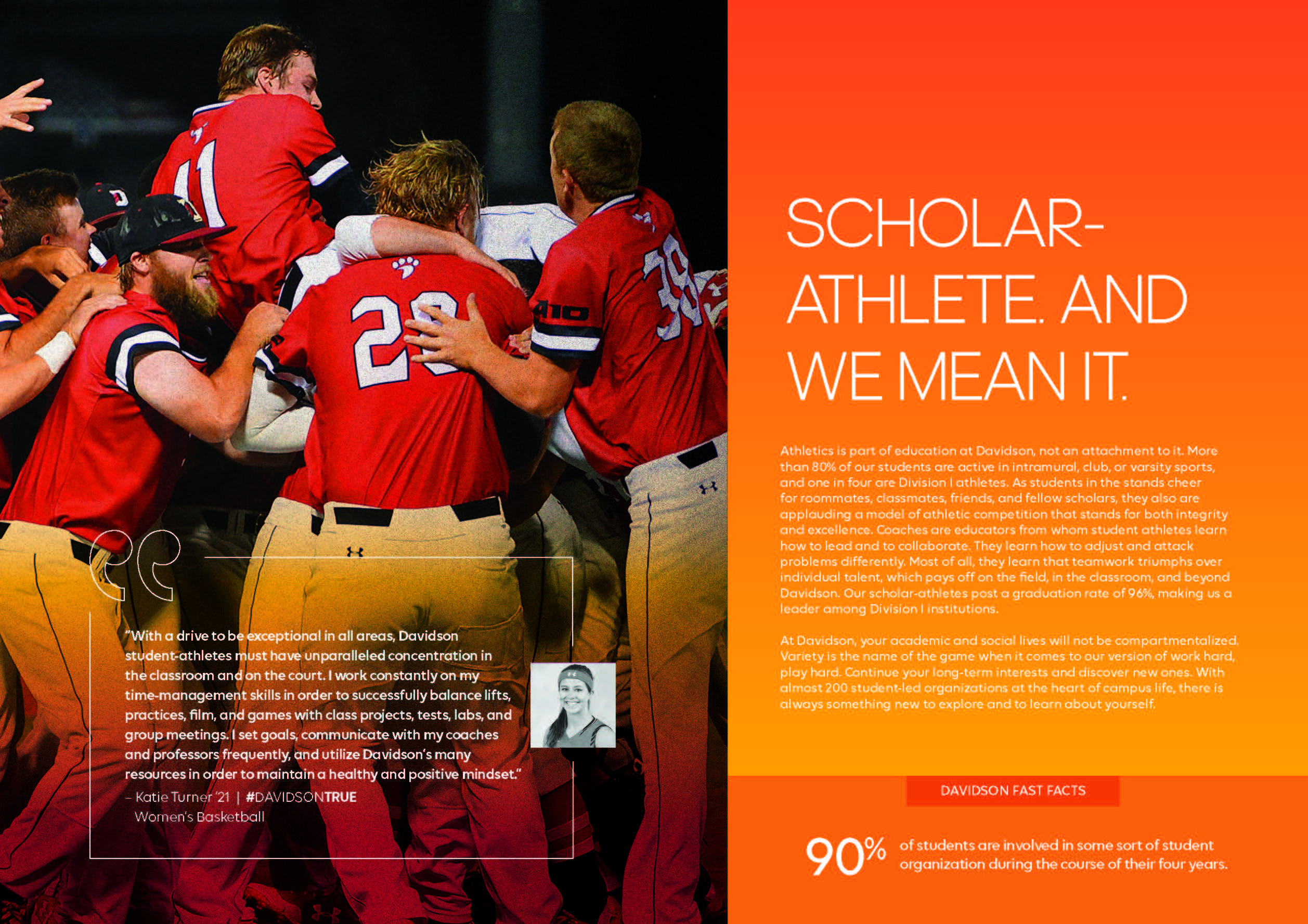 Viewbook: Scholar-athlete. And we mean it.