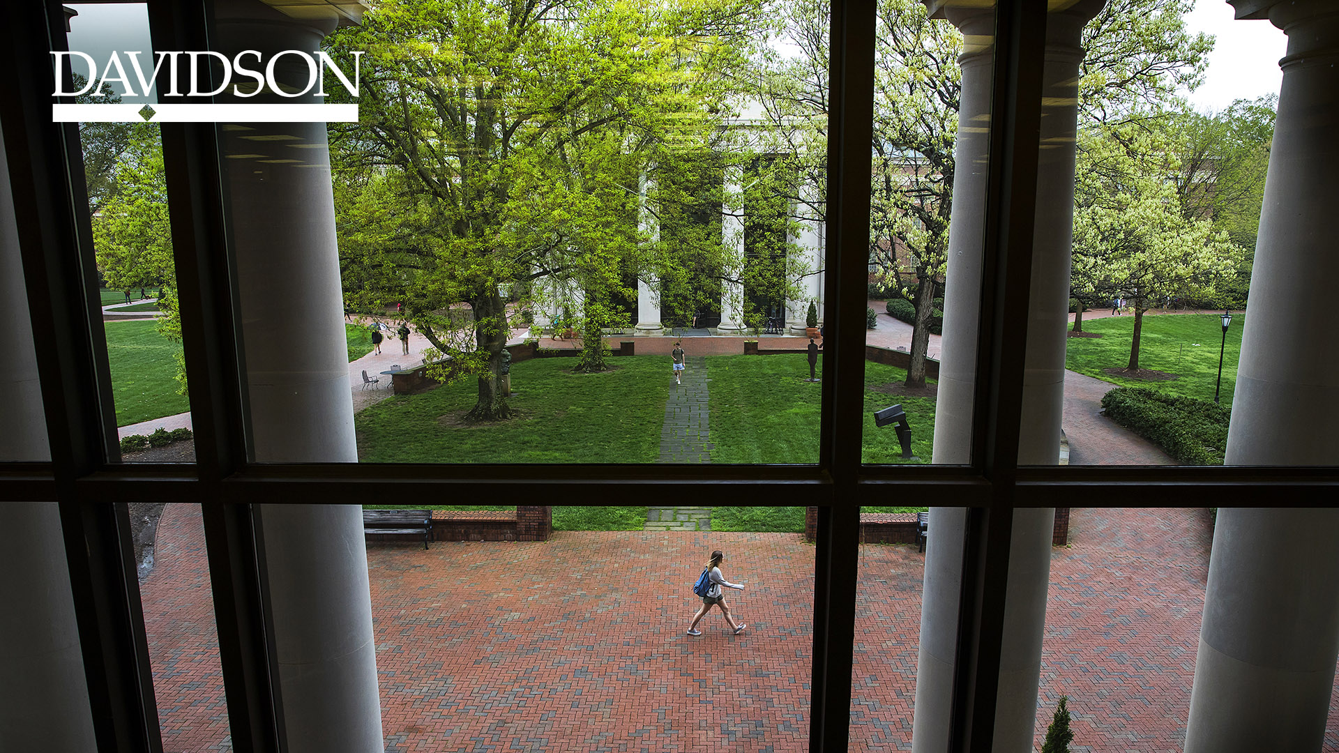 View of Sculpture Garden from Library with Davidson Bar and Diamond Logo