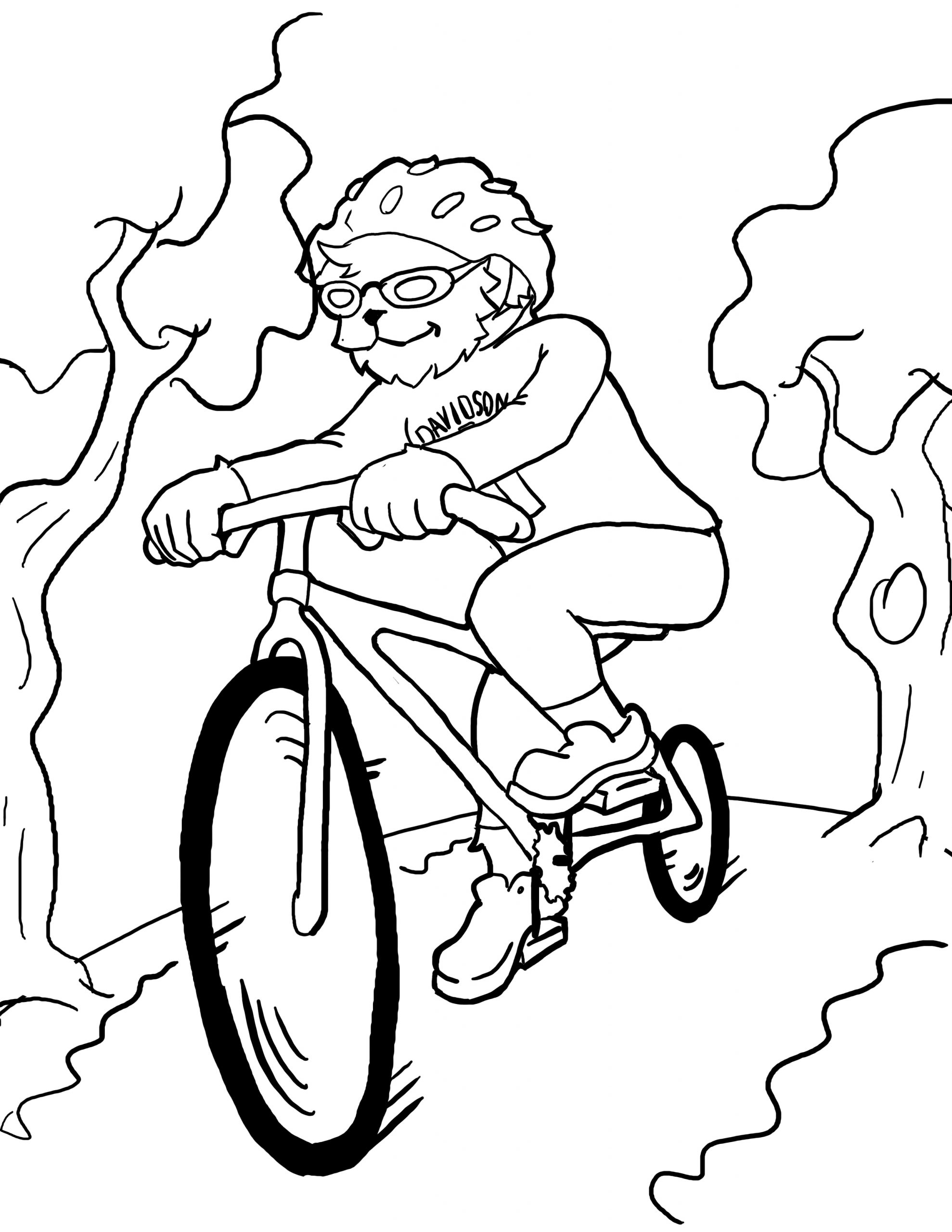 Lux Riding His Bike Coloring Page