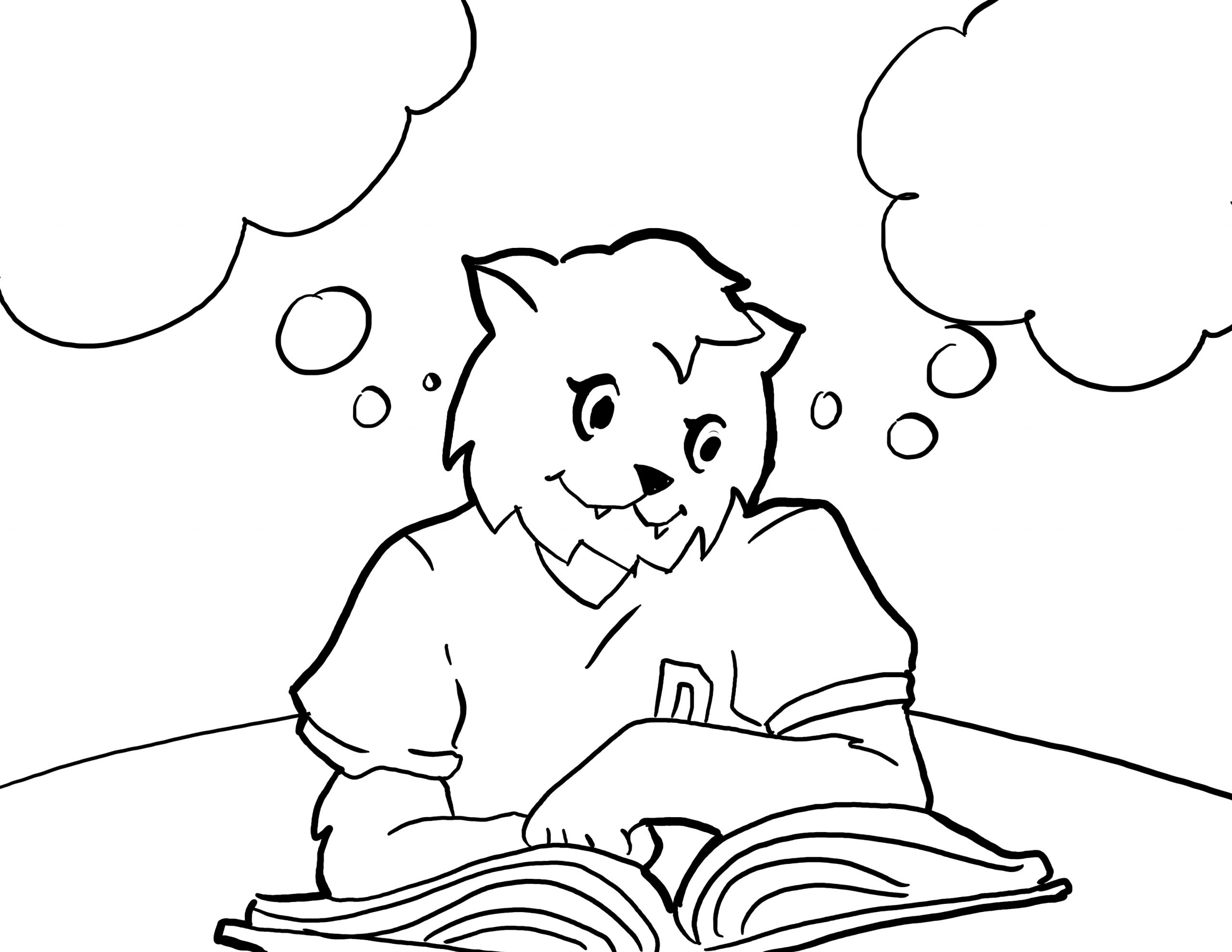 Lux Reading a Book Coloring Page