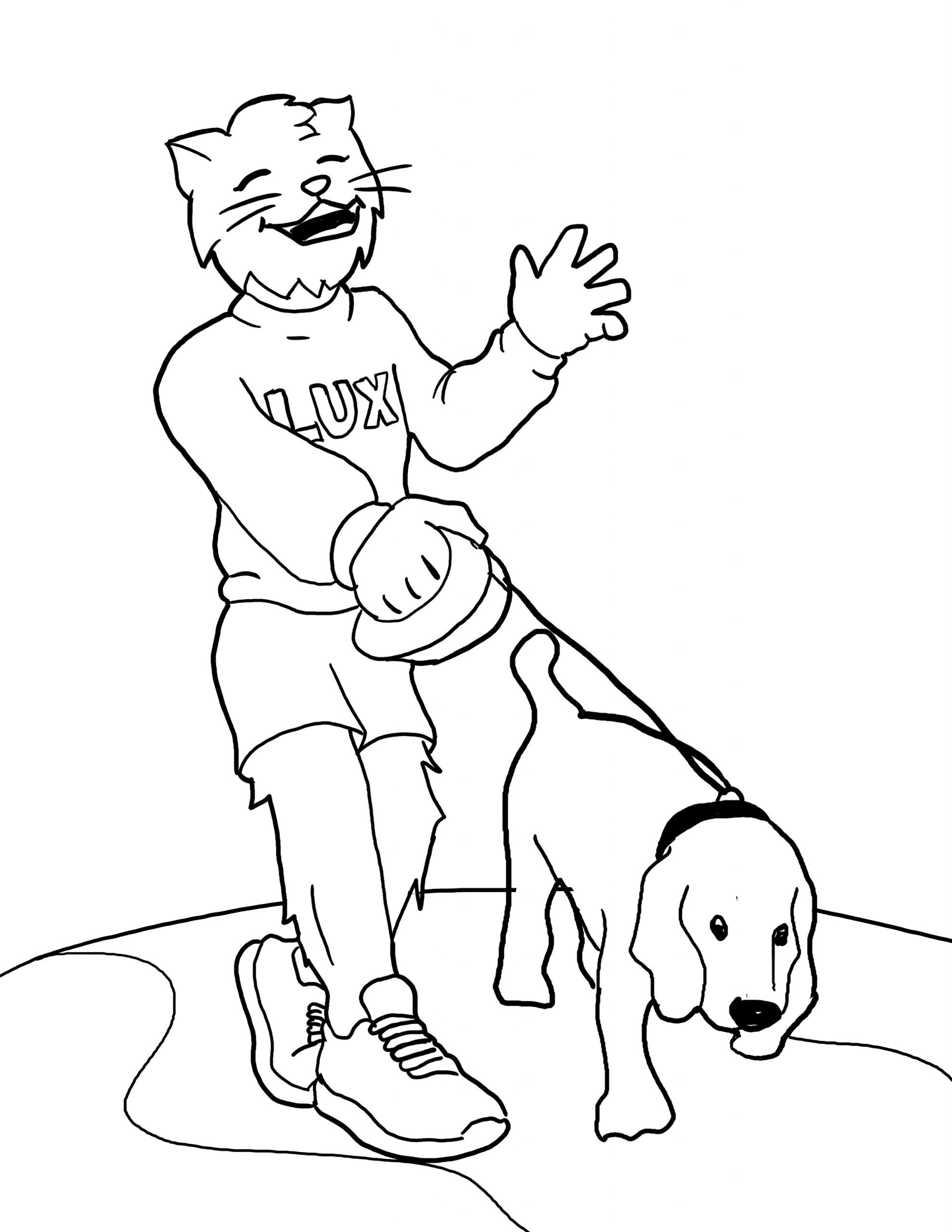 Lux Walking His Dog Coloring Page