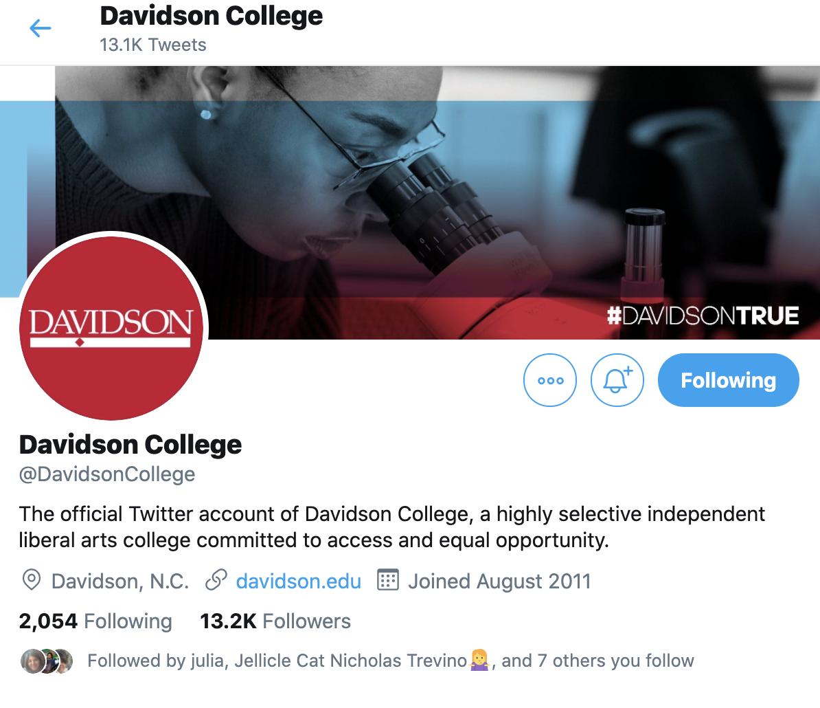 Davidson College Twitter Profile