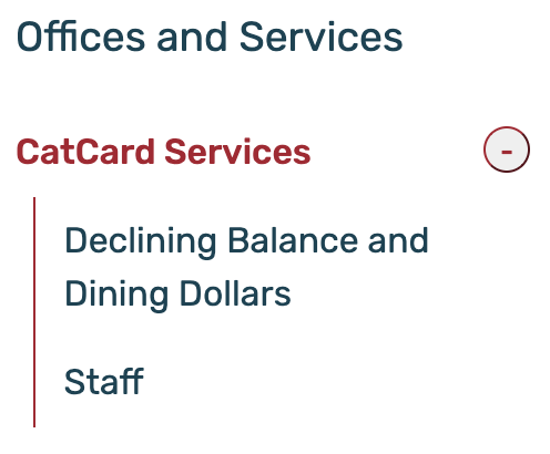 Screenshot of CatCard Services Navigation on Davidson.edu