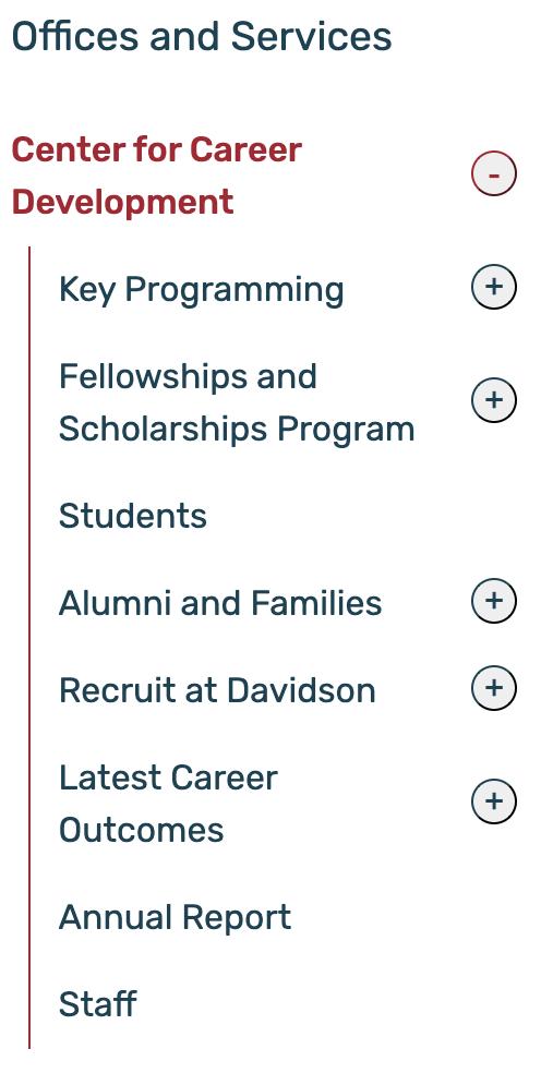 Screenshot of Career Development Services Navigation on Davidson.edu
