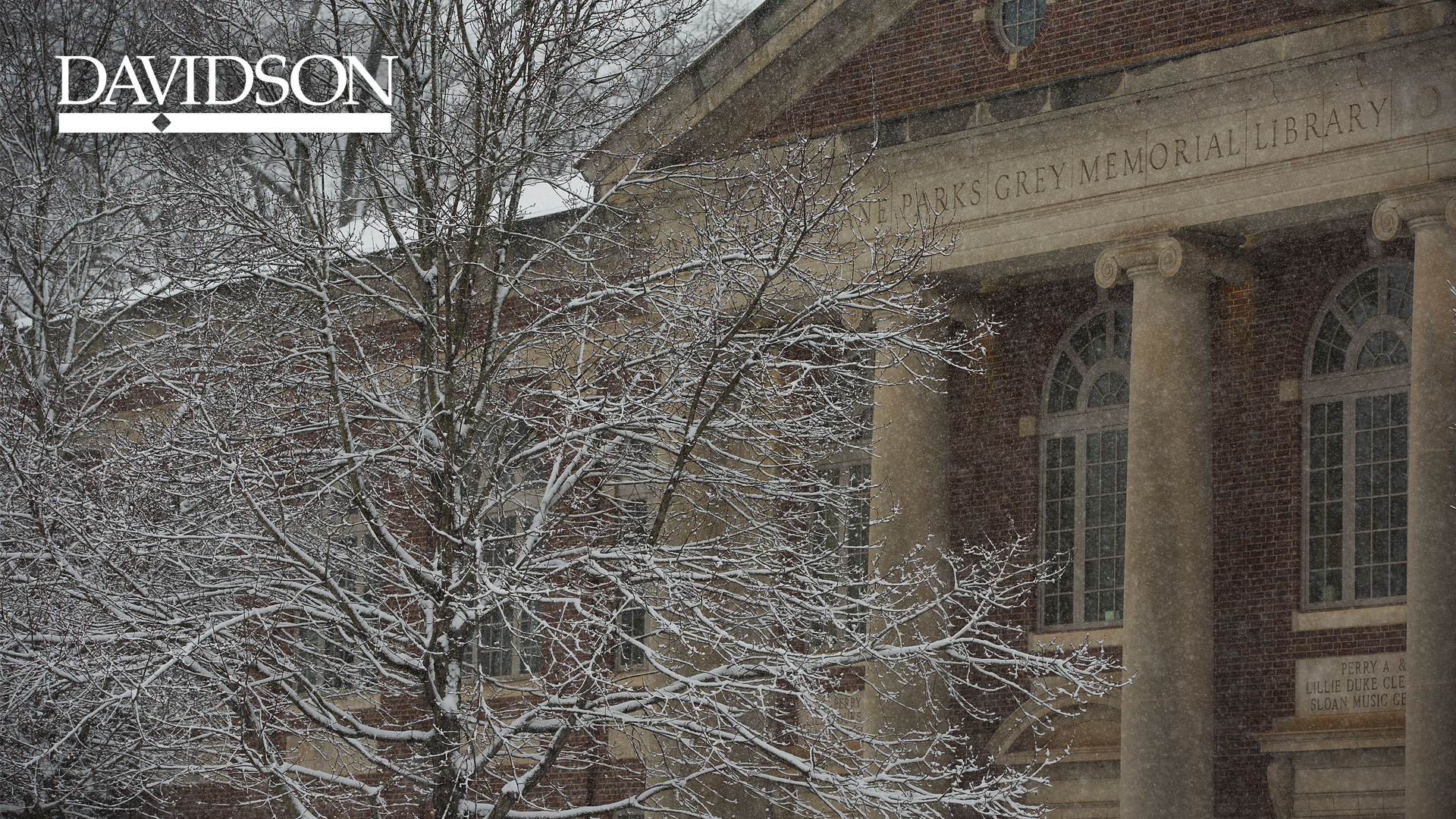 Sloan Music Building with Snow and Davidson logo
