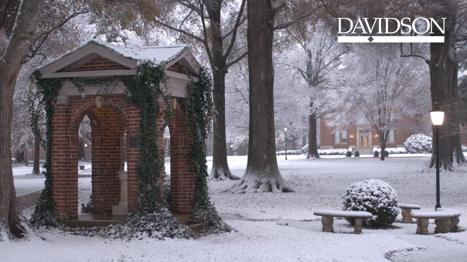 President's House during snow and Davidson True Wordmark