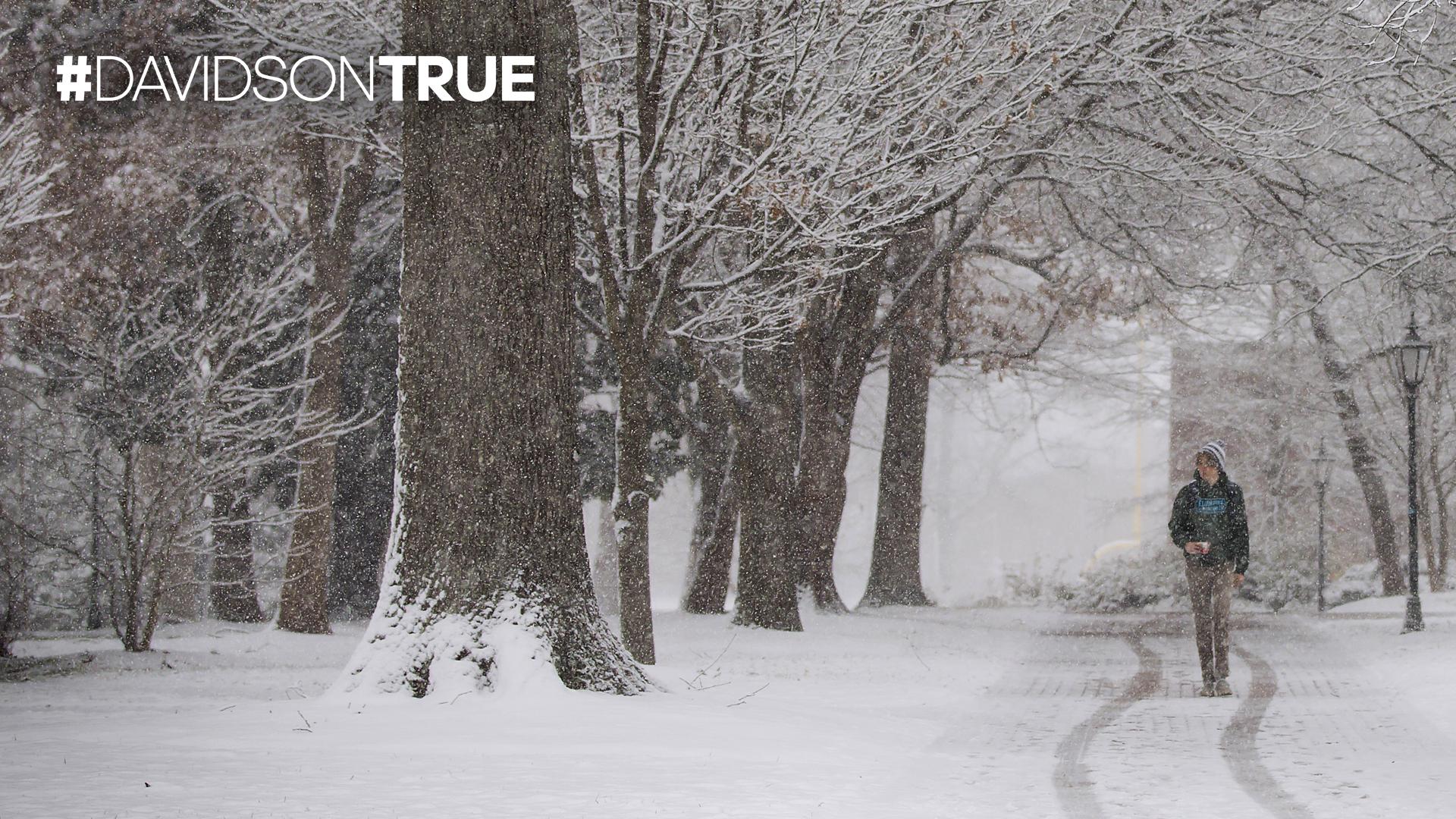 Student walking along snowy path and Davidson True wordmark