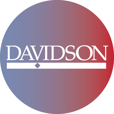 Twitter Blue to red gradient with white Davidson logo
