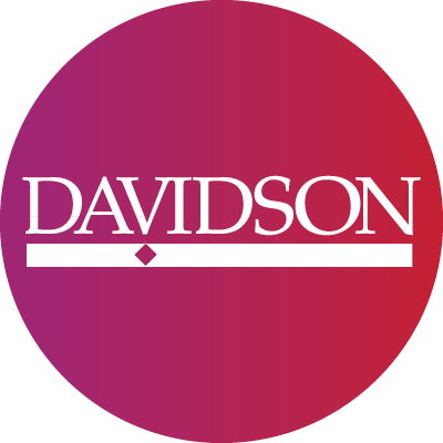 Twitter Purple to red gradient circle with white Davidson logo