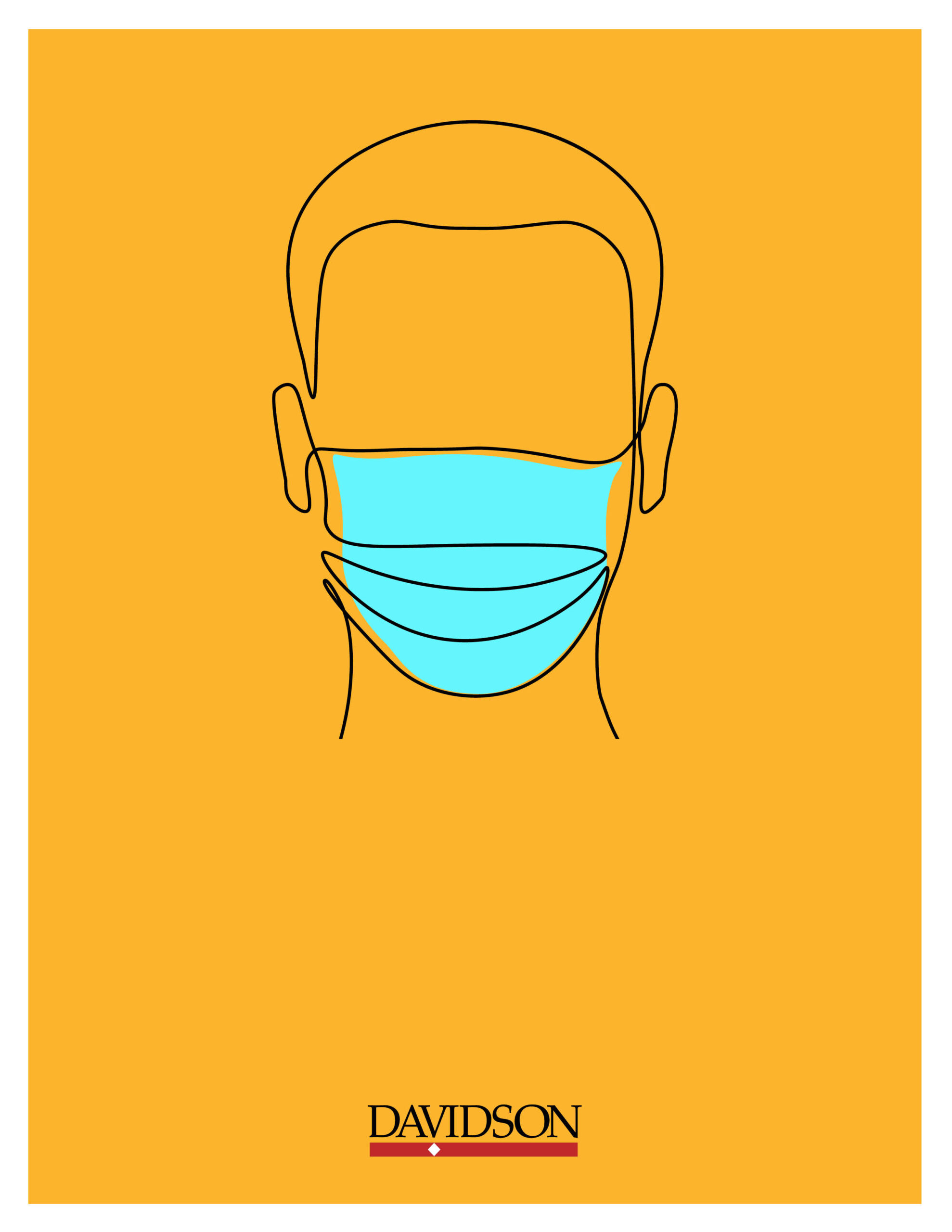 Yellow Background, Outline of Face with Mask