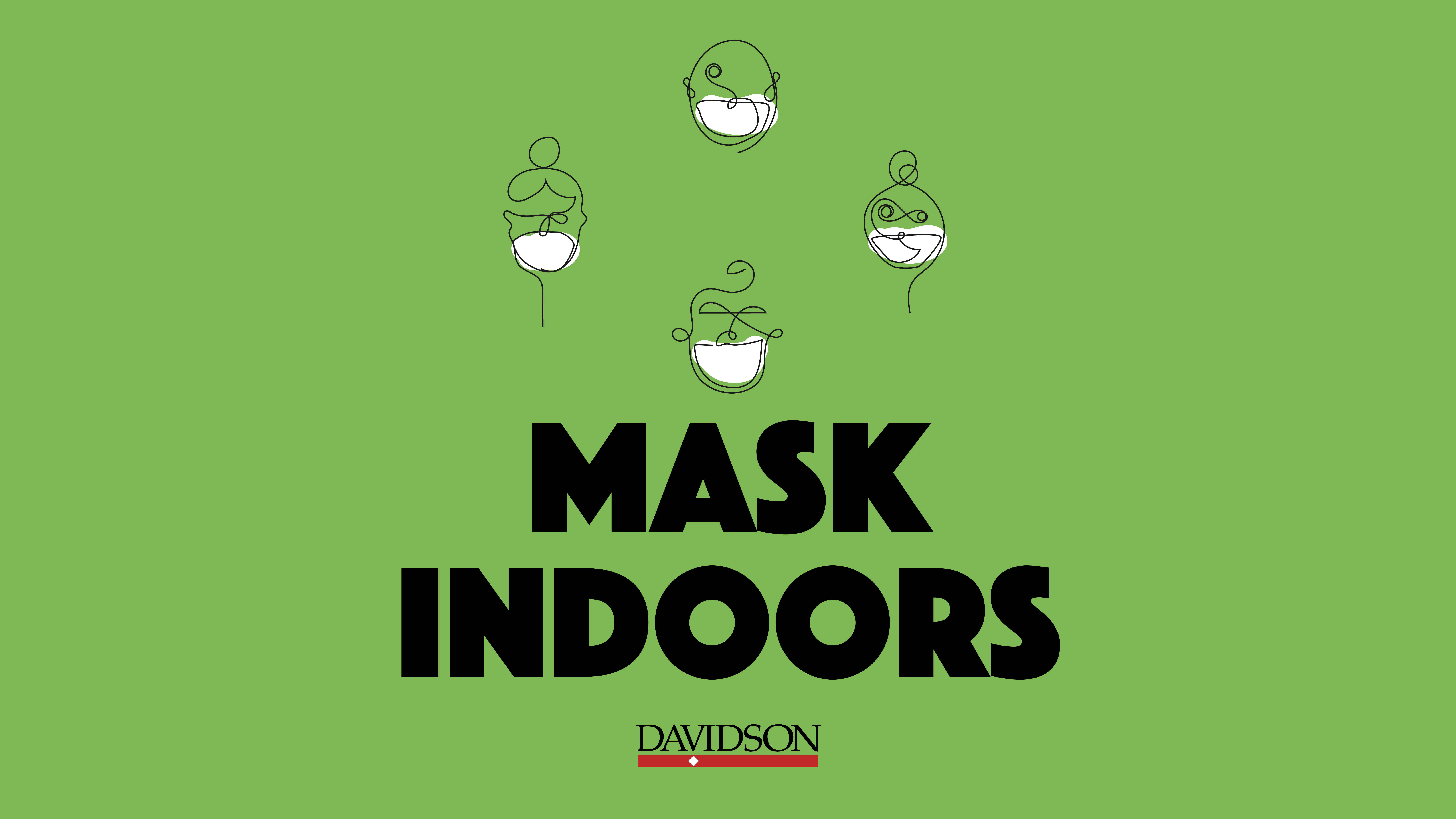 Outline of group wearing masks with Mask Indoors text