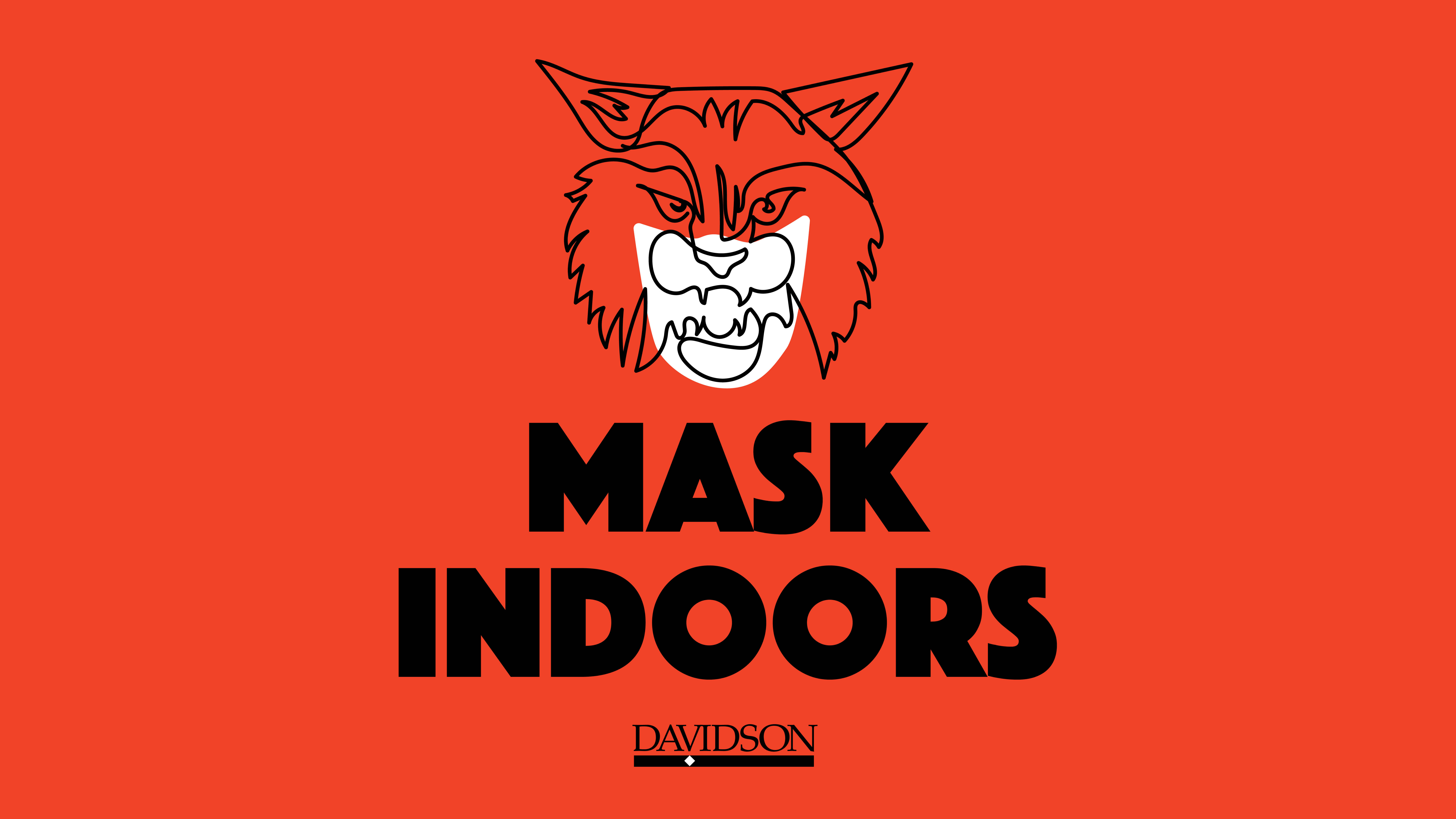 Wildcat outline wearing mask with Mask Indoors text