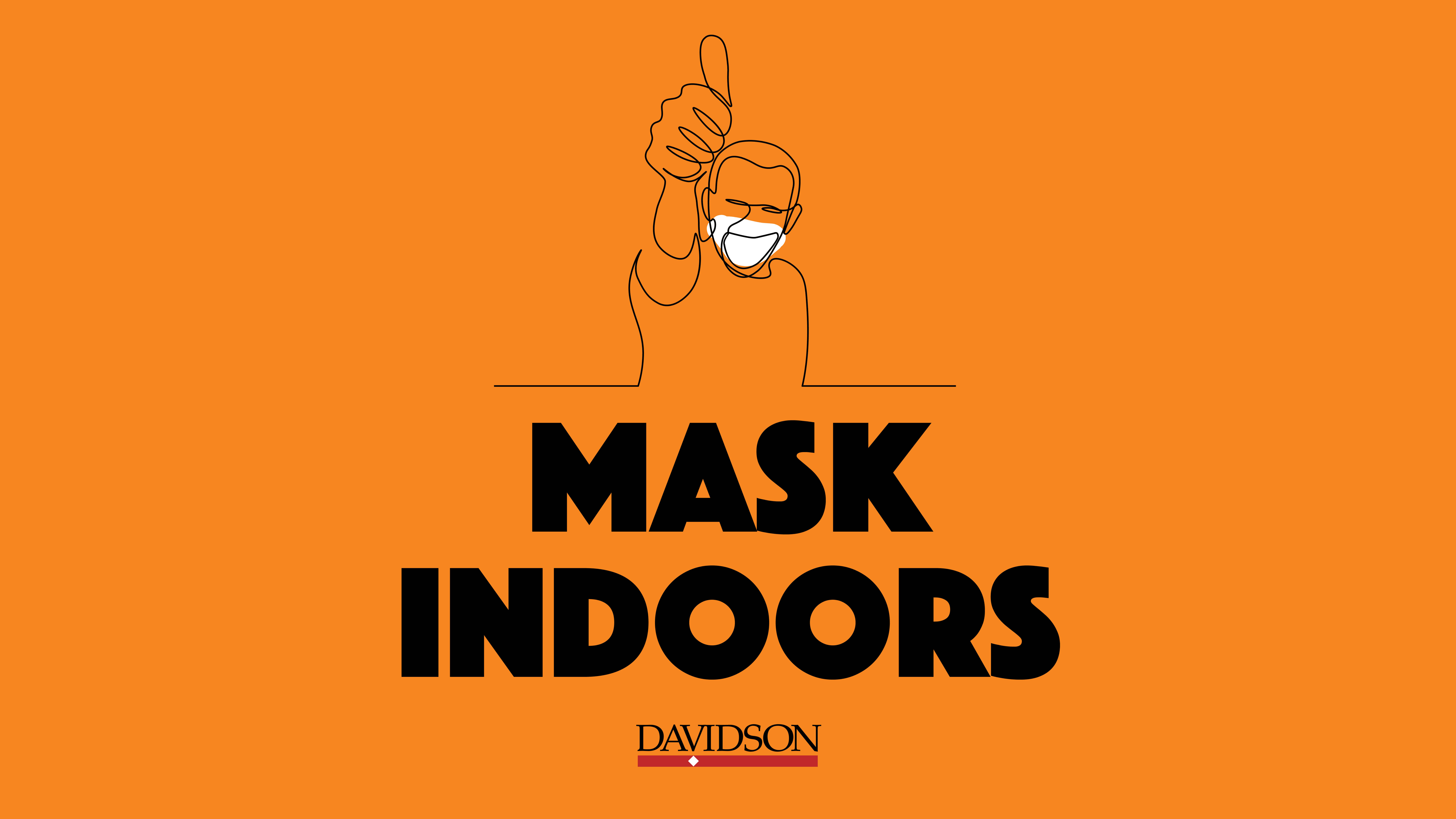 Guy outline with thumbs up and Mask Indoors text