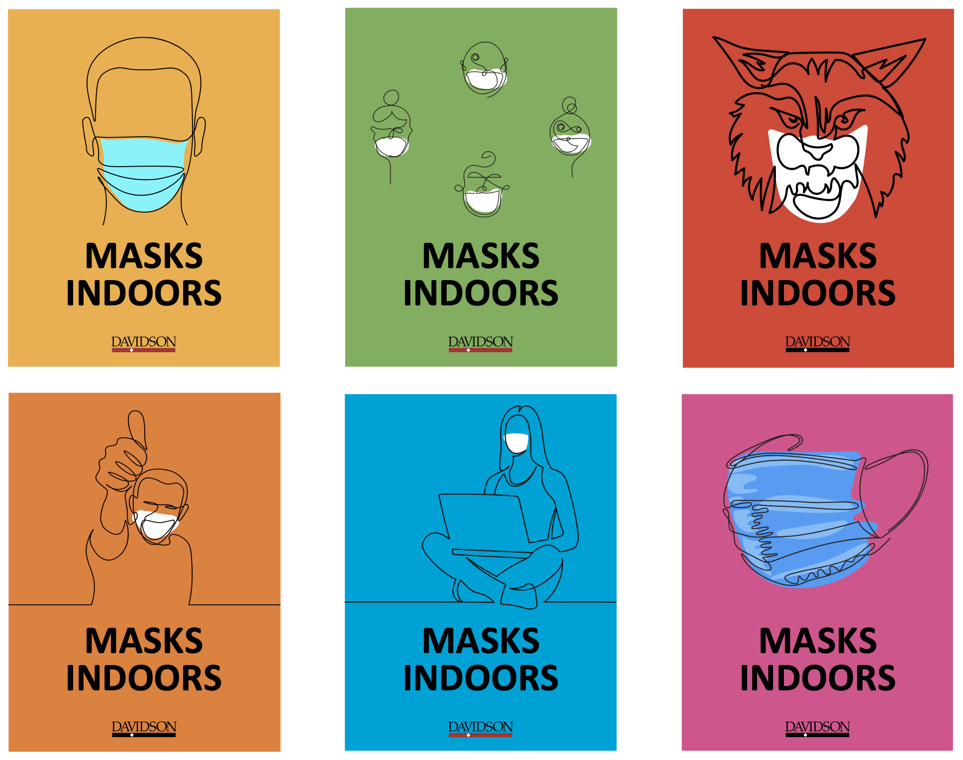 Set of posters that say Masks Indoors